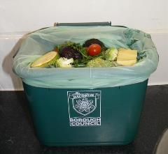 Food waste in kitchen caddy