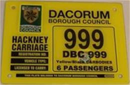 Hackney Carriage licence plate