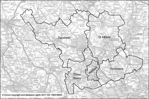 Map of local authorities in South West Herts taking part in a Joint Strategic Plan