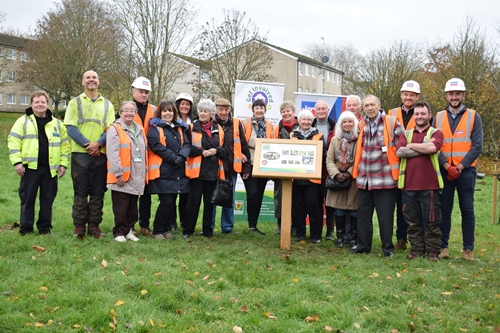 Councillors, contractors and residents with the new Northend Community Orchard information sign